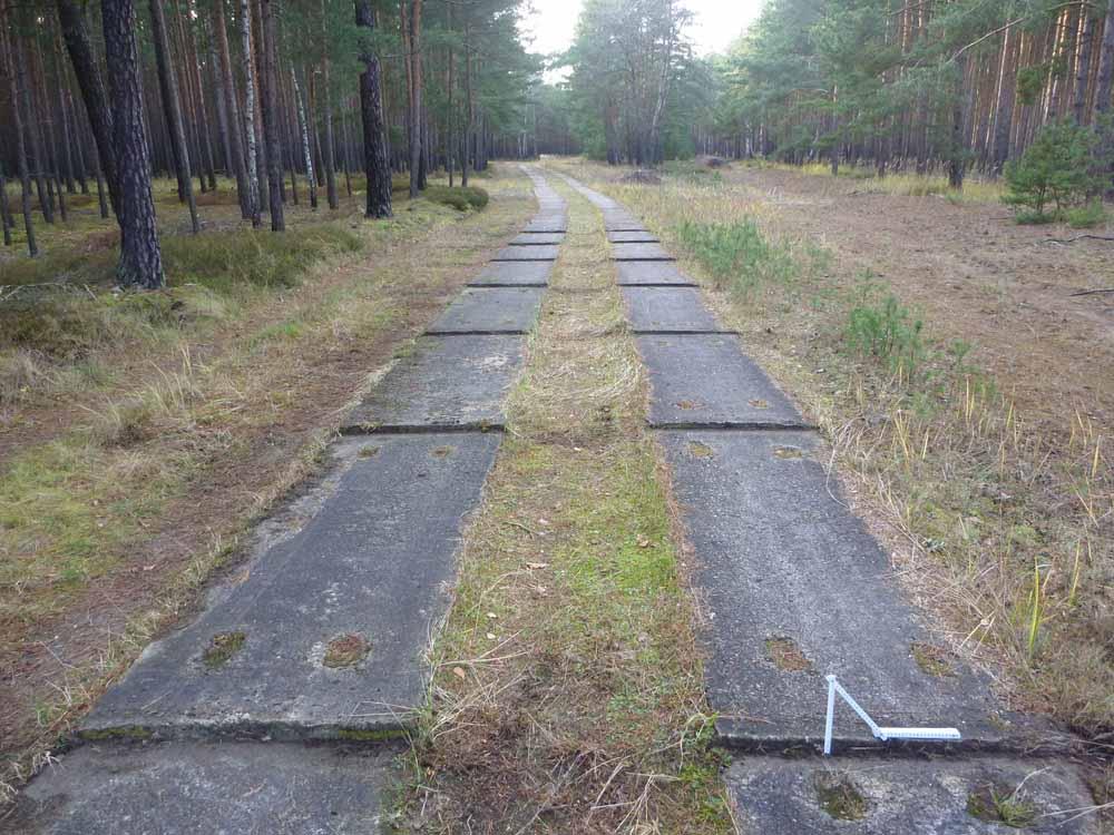 In einem Plattenfahrweg (Einzelplatte 3 m x 1 m; Zwischenraum 0,85 m) sind zwei Schlechtwegstrecken für Rüttelbeanspruchungen eingebaut; hier über 7 Platten verteilt ein symmetrischer Fugenversatz.